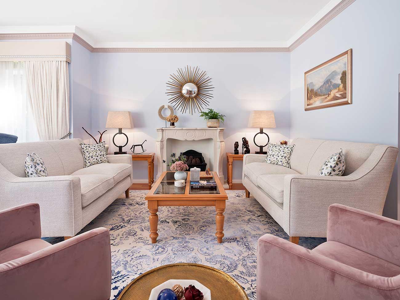 Blue lounge room with off white custom sofa