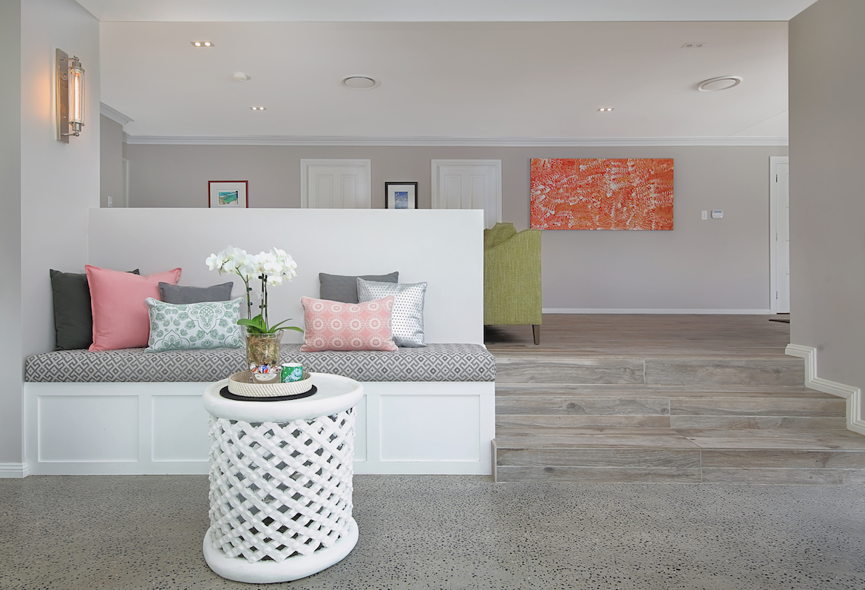 seating area with custom cushions
