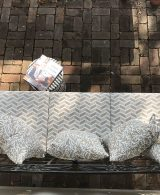 Outdoor cushions in white and latte