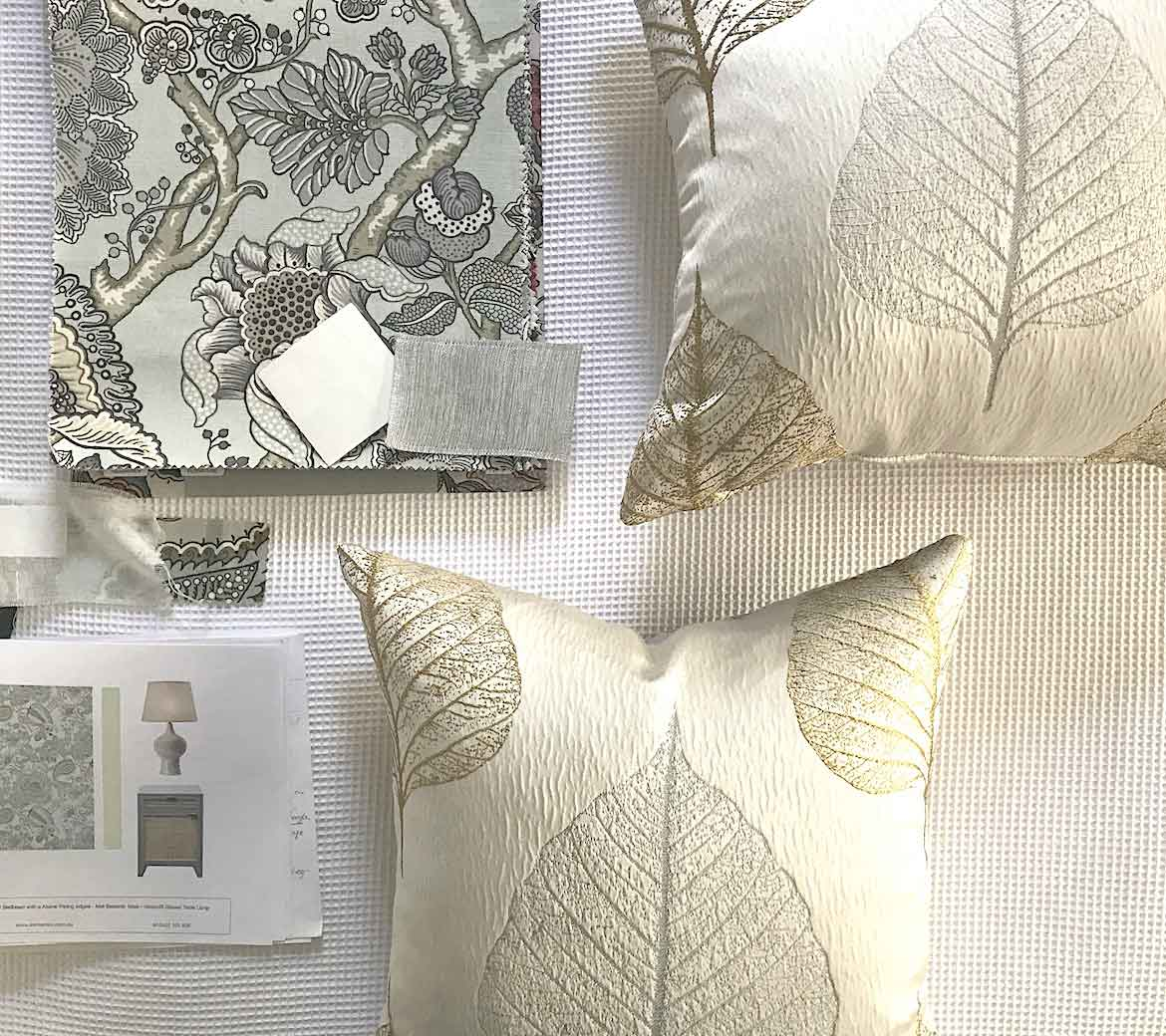Textile samples and cushions